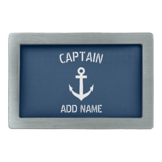 Custom navy blue nautical anchor boat captain belt buckles