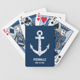 Custom navy blue nautical anchor playing cards