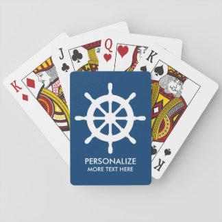 Custom navy blue nautical ship wheel playing cards
