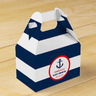 Custom Navy Blue Red Boy Nautical Baby Shower Favour Box