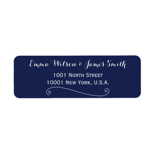 Custom Navy Blue White Personalised Address Labels