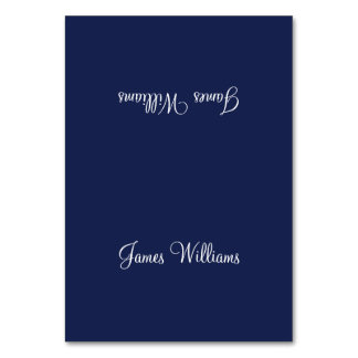 Custom Navy Blue White Simple Place Setting Cards Table Cards