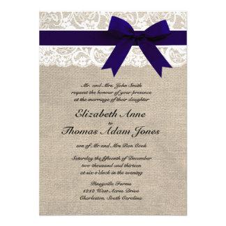 Custom Navy White Lace Burlap Wedding Invite