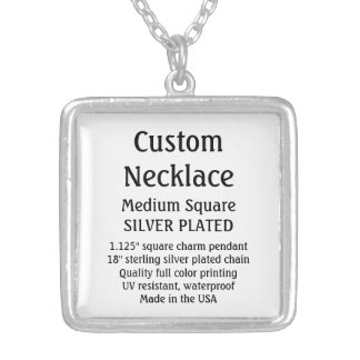 Custom Necklace - SILVER PLATED, Medium Square Square Pendant Necklace
