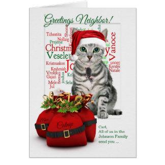 Custom Neighbor Christmas Tabby Cat Card