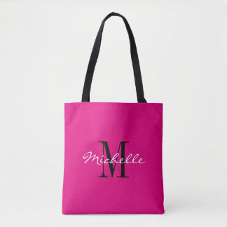 Custom neon pink and black monogrammed tote bags