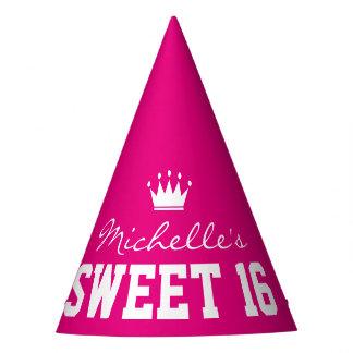 Custom neon pink SWEET 16 Birthday party hats
