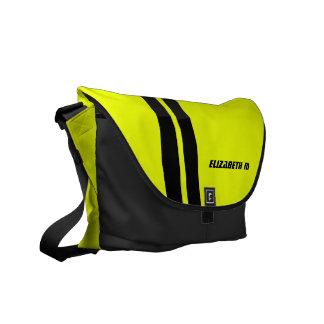 Custom Neon Yellow/Black Racing Stripe Messenger Messenger Bags