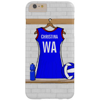 Custom Netball Uniform Blue with Red  and White Barely There iPhone 6 Plus Case