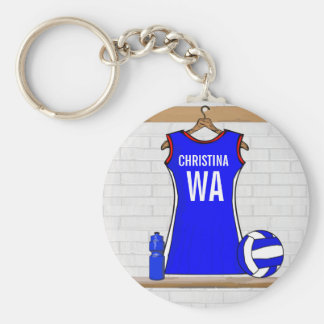 Custom Netball Uniform Blue with Red and White Basic Round Button Key Ring