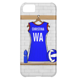 Custom Netball Uniform Blue with Red  and White iPhone 5C Case