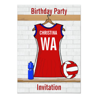 Custom Netball Uniform Red with Blue and White 13 Cm X 18 Cm Invitation Card