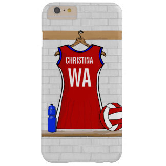 Custom Netball Uniform Red with Blue and White Barely There iPhone 6 Plus Case
