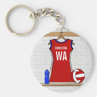 Custom Netball Uniform Red with Blue and White Basic Round Button Key Ring