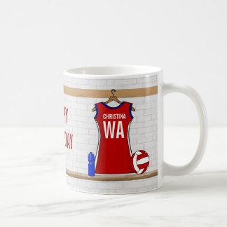 Custom Netball Uniform Red with Blue and White Basic White Mug