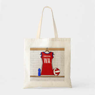 Custom Netball Uniform Red with Blue and White Budget Tote Bag