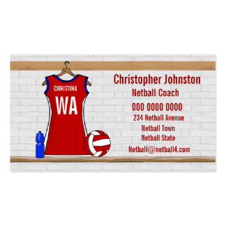 Custom Netball Uniform Red with Blue and White Pack Of Standard Business Cards