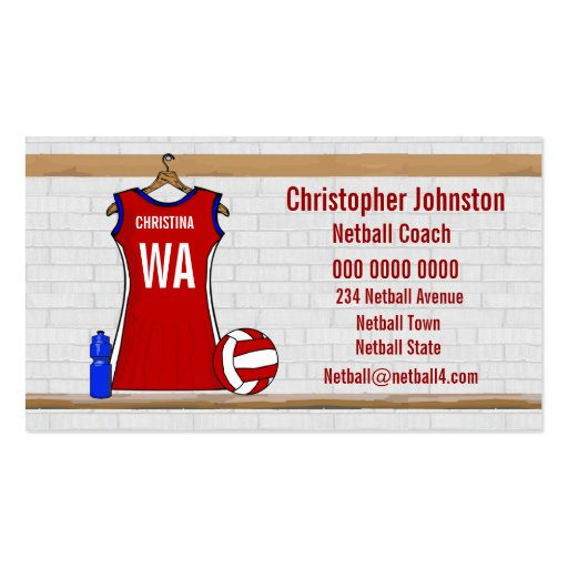 Custom Netball Uniform Red with Blue and White Business Card Templates