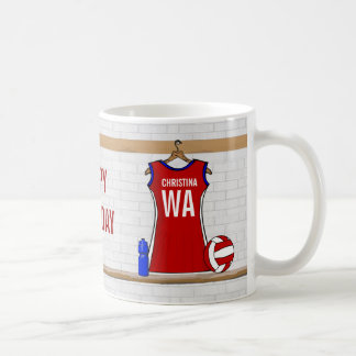 Custom Netball Uniform Red with Blue and White Coffee Mug