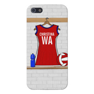 Custom Netball Uniform Red with Blue and White iPhone 5 Case