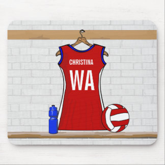 Custom Netball Uniform Red with Blue and White Mouse Mat