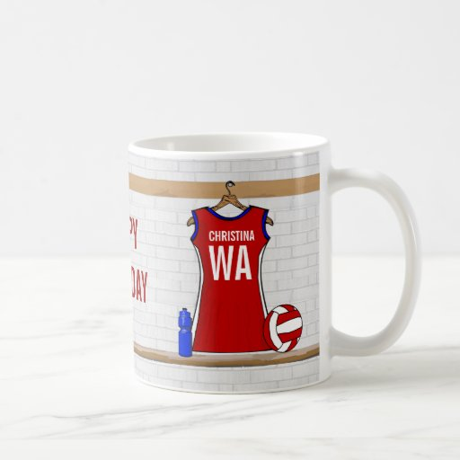 Custom Netball Uniform Red with Blue and White Coffee Mugs