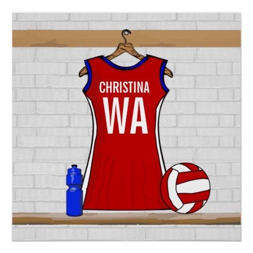 Custom Netball Uniform Red with Blue and White Posters