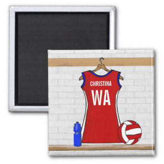 Custom Netball Uniform Red with Blue and White Square Magnet
