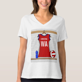 Custom Netball Uniform Red with Blue and White T Shirt