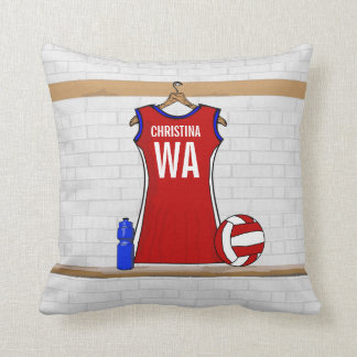 Custom Netball Uniform Red with Blue and White Throw Pillow