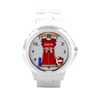 Custom Netball Uniform Red with Blue and White Wrist Watch