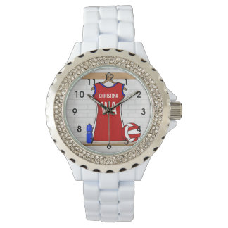 Custom Netball Uniform Red with Blue and White Wristwatches