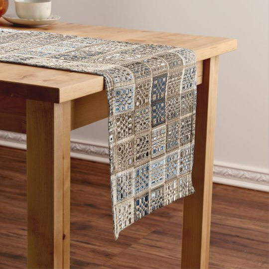 Custom neutral mosaic tile art short table runner
