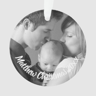 Custom New Parents Baby Photo Holiday Ornament