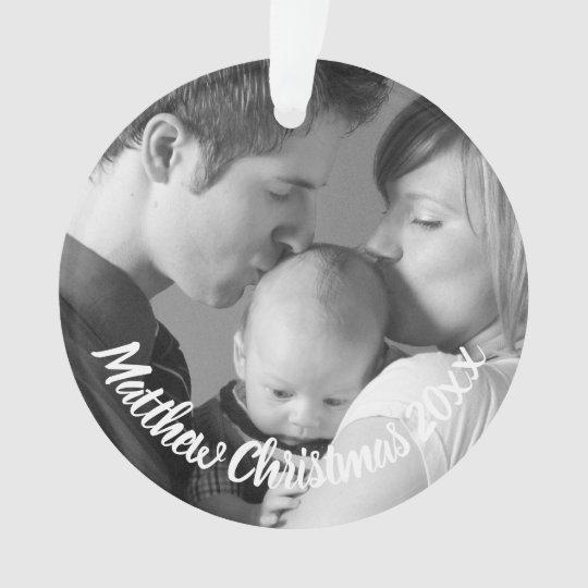 Custom New Parents Baby Photo Holiday Ornament