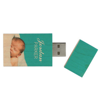 Custom Newborn Photo Monogram USB Flash Drive