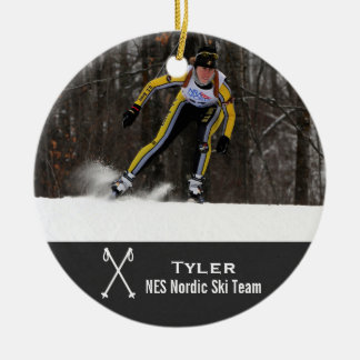 Custom Nordic Cross Country Skiing Photo Collage Christmas Ornament
