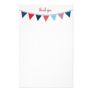 CUSTOM NOTE cute bright bunting bold navy blue red Stationery