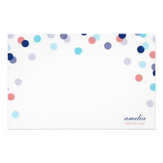 CUSTOM NOTE cute bright confetti navy blue coral Customized Stationery