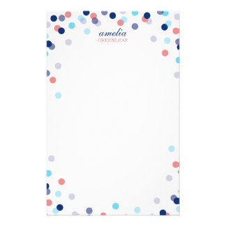 CUSTOM NOTE cute bright confetti navy blue coral Stationery