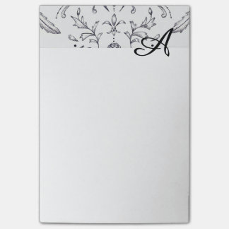 Custom Note Pads Initial Damask 4 x 6 Post-it® Notes