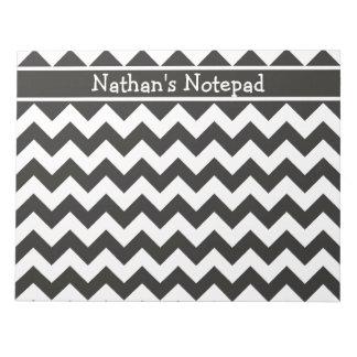 Custom Notepad, Black and White Chevrons Notepad