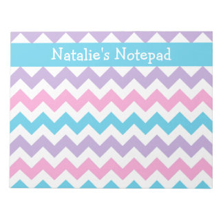 Custom Notepad, Blue, Pink, Mauve Chevrons Notepads