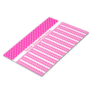 Custom Notepad or Jotter: Candy Pink and White