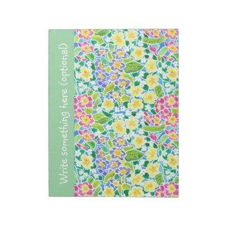 Custom Notepad or Jotter, Primroses, Mint Green