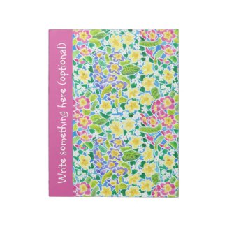 Custom Notepad or Jotter, Primroses, Pretty Pink