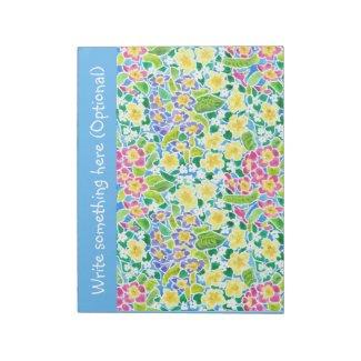 Custom Notepad or Jotter, Primroses, Sky Blue