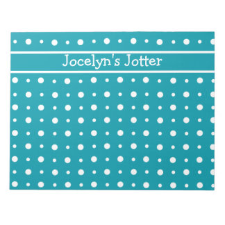 Custom Notepad or Jotter, White Polka Dots on Teal