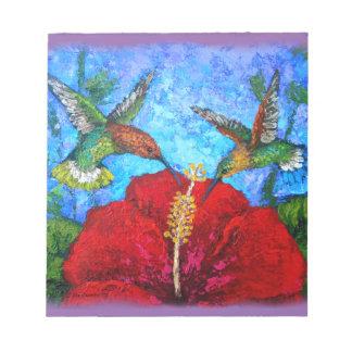 Custom Notepad With Hummingbirds Painting
