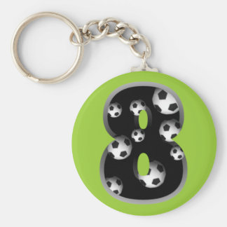 Custom Number 8 Soccer Keychain